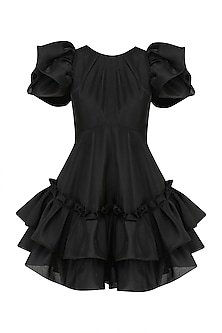 Black Bubble Frill Pouf Sleeves Dress by Gauri and Nainika