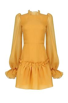 Mustard Long Sleeve Raglan Cut Trapeze Dress by Gauri and Nainika
