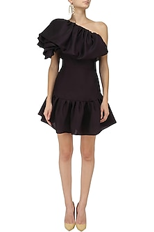 Black Bubble Frill One Shoulder Dress by Gauri and Nainika