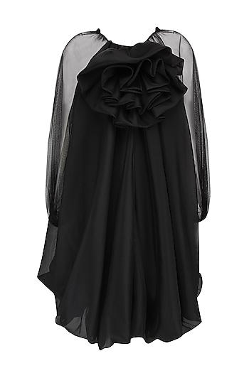 Black Trapeze Balloon Dress by Gauri and Nainika