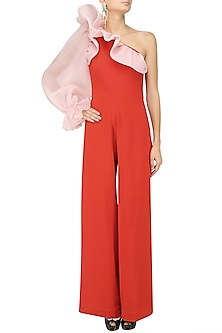 Orange and Pink One Shoulder Ruffled Jumpsuit by Gauri and Nainika