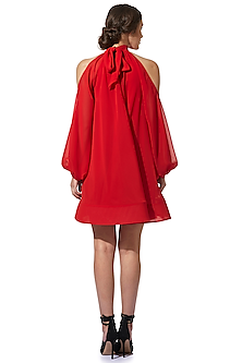 Red Halter Dress With Draped Sleeves by Gauri and Nainika