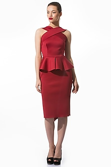 Deep Red Pencil Dress by Gauri and Nainika