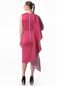 Magenta Draped Pencil Dress by Gauri and Nainika