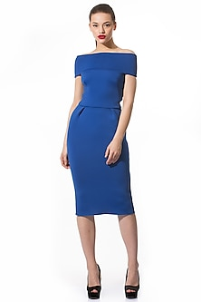 Electric Blue Pencil Dress by Gauri and Nainika