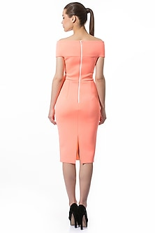 Coral Pencil Dress With Overlapping Straps by Gauri and Nainika