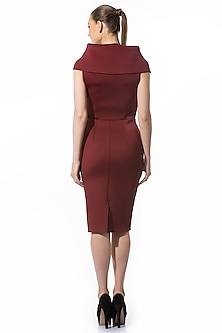 Brown Neoprene Pencil Dress by Gauri and Nainika