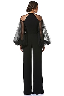 Black Jumpsuit With Sheer Sleeves by Gauri and Nainika