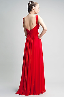 Red Slim Viscose Georgette Gown by Gauri and Nainika