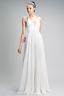 Ivory Belted Gown With V-Neckline by Gauri and Nainika