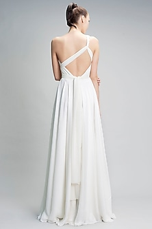 Ivory One Shoulder Belted Gown by Gauri and Nainika
