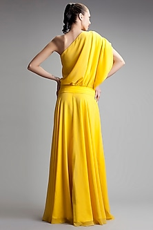 Yellow One Shoulder Gown by Gauri and Nainika