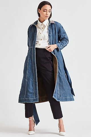 Cobalt Blue Embroidered Denim Trench Coat by Our Love