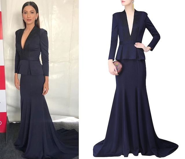 Navy Blue In Built Peplum Coat and Short Train Gown by AMIT GT
