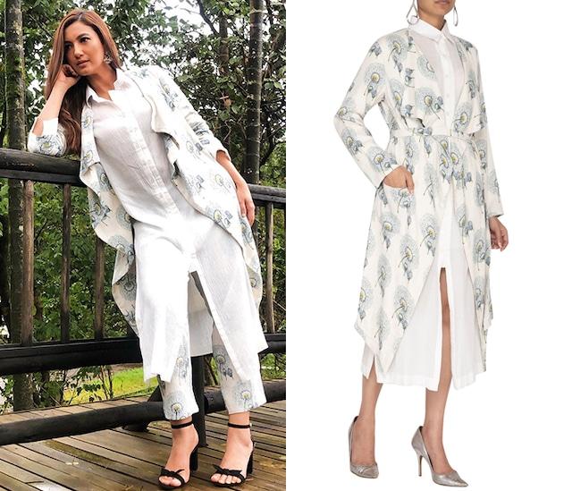 White Printed Trench Coat With Belt & Shirt Dress by Neha & Tarun