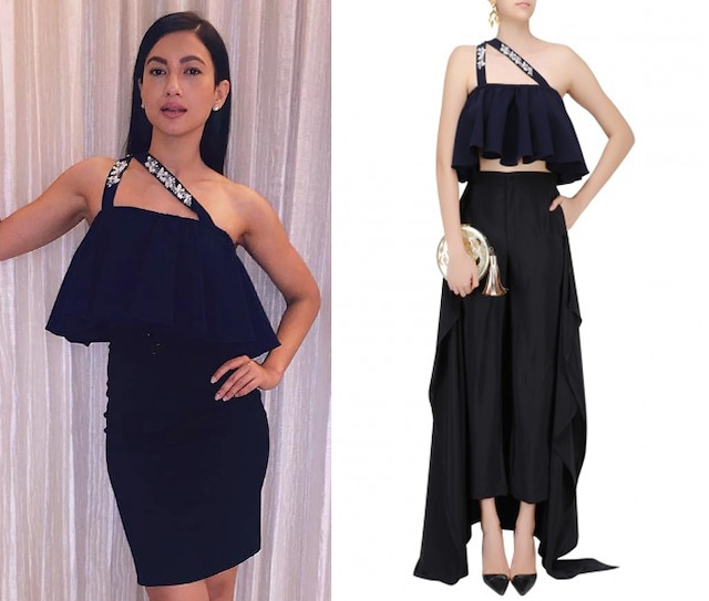 Navy Blue Pearl Embroidered Double Strap Flared Crop Top by Bhumika Sharma
