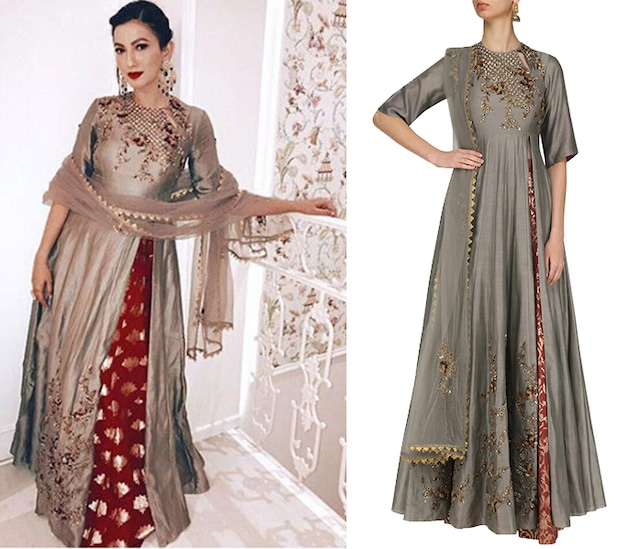 Grey Floral Embroidered Anarkali Kurta and Skirt Set by Joy Mitra