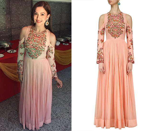Peach and Pink Cold Shoulder Embroidered Anarkali Kurta by Samatvam By Anjali Bhaskar