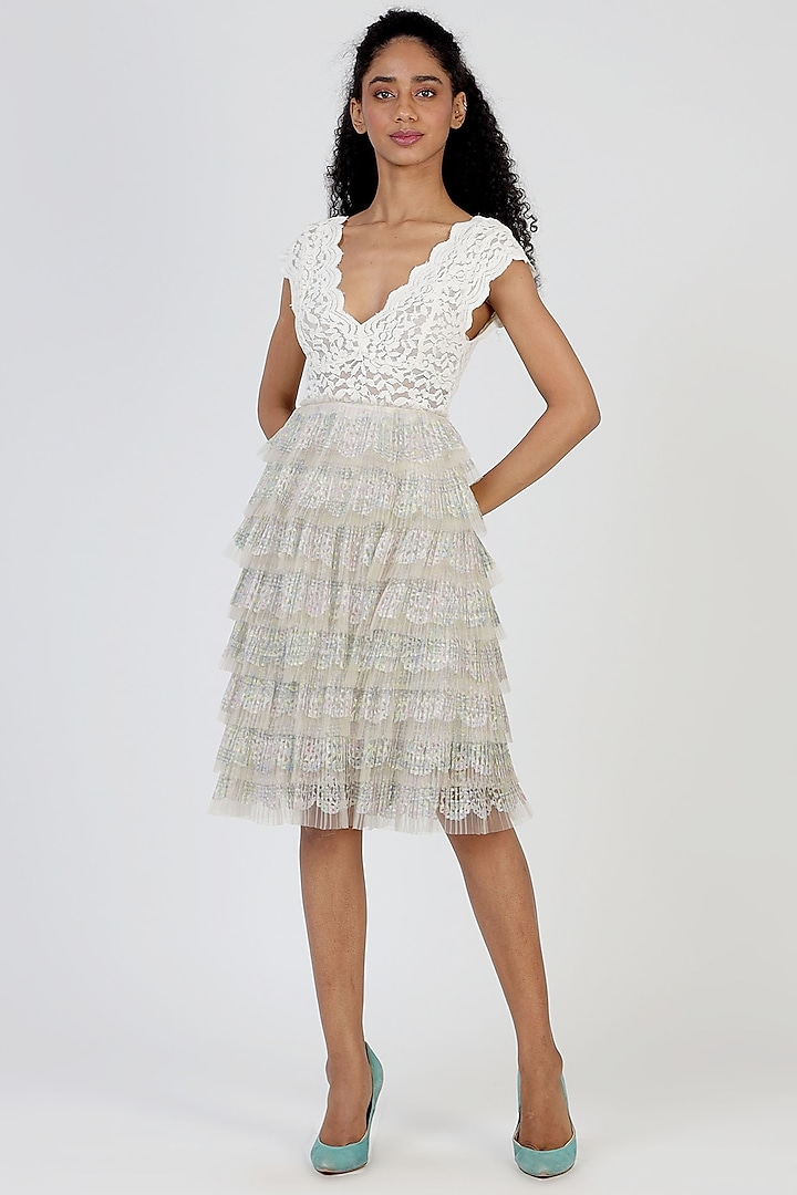 Grey Ruffled Pleated Skirt by Geisha Designs