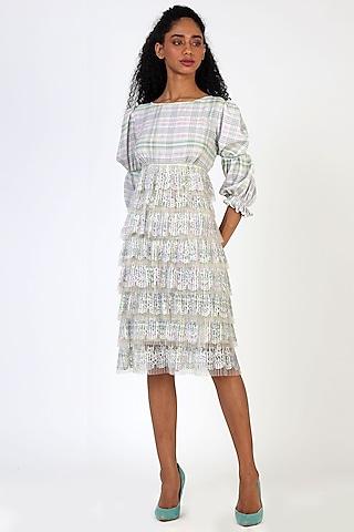 Off-White Pleated Midi Dress by Geisha Designs