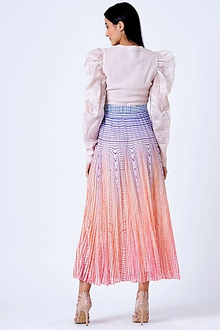 Coral Illusion Pleated Skirt by Geisha Designs