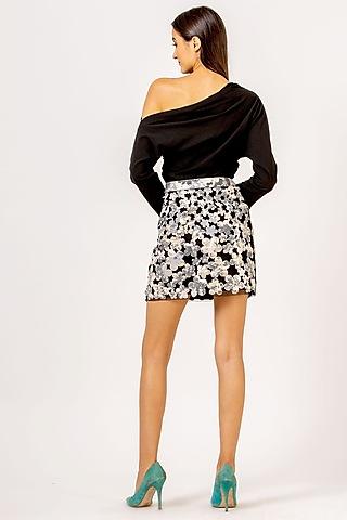 Black Floral Mini Skirt by Geisha Designs