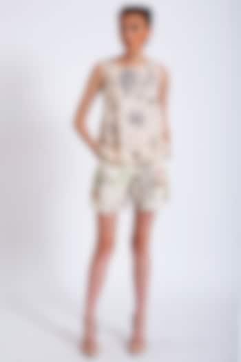 Beige Printed Lace Top by Geisha Designs