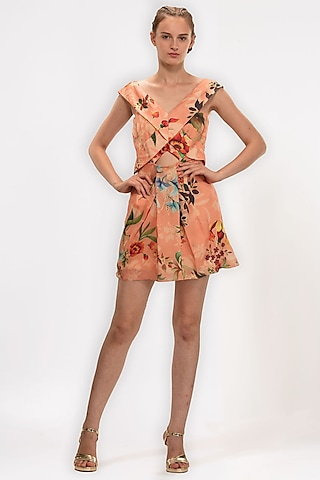 Orange Printed Off-Shoulder Dress by Geisha Designs