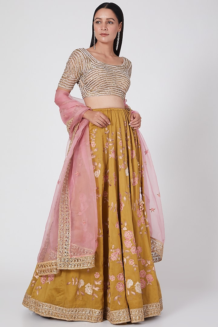 Olive Green Floral Embroidered Lehenga Set by Geisha Designs