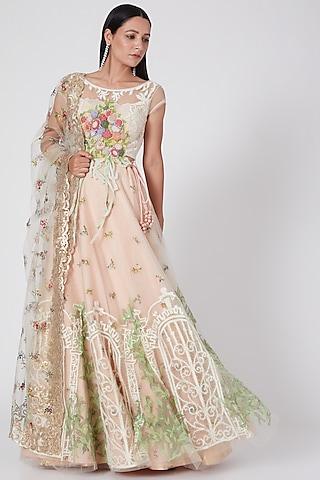Peach Floral Embroidered Lehenga Set by Geisha Designs