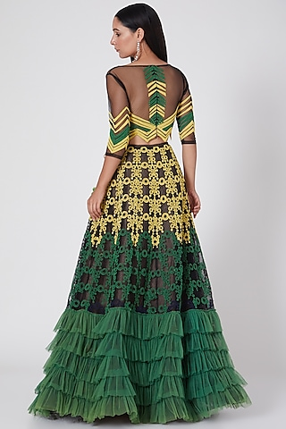 Mehendi Green & Black Embroidered Lehenga Set by Geisha Designs