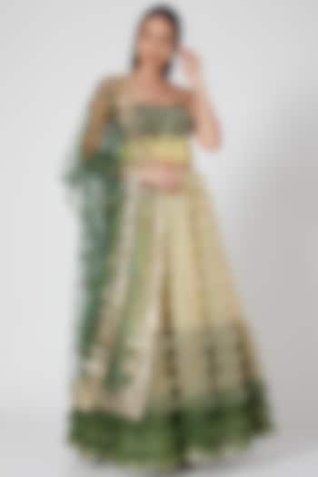 Lime Ruffled Lehenga Set by Geisha Designs