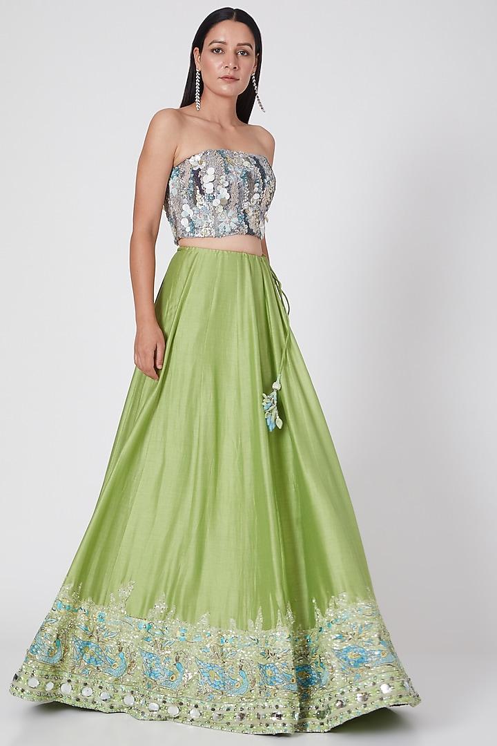 Lime Green Embroidered Lehenga Set by Geisha Designs