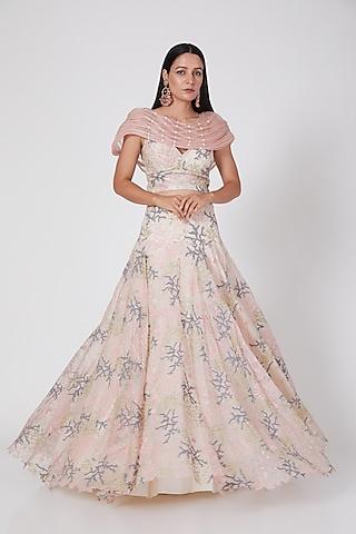 Blush Pink Embroidered Lehenga Set by Geisha Designs