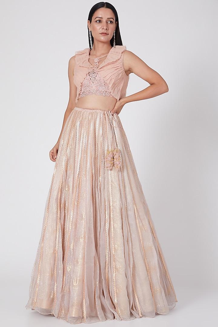 Light Pink Glitter Lehenga Set by Geisha Designs