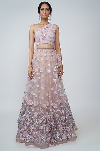 Blush Pink Appliques Lehenga With Blouse by Geisha Designs