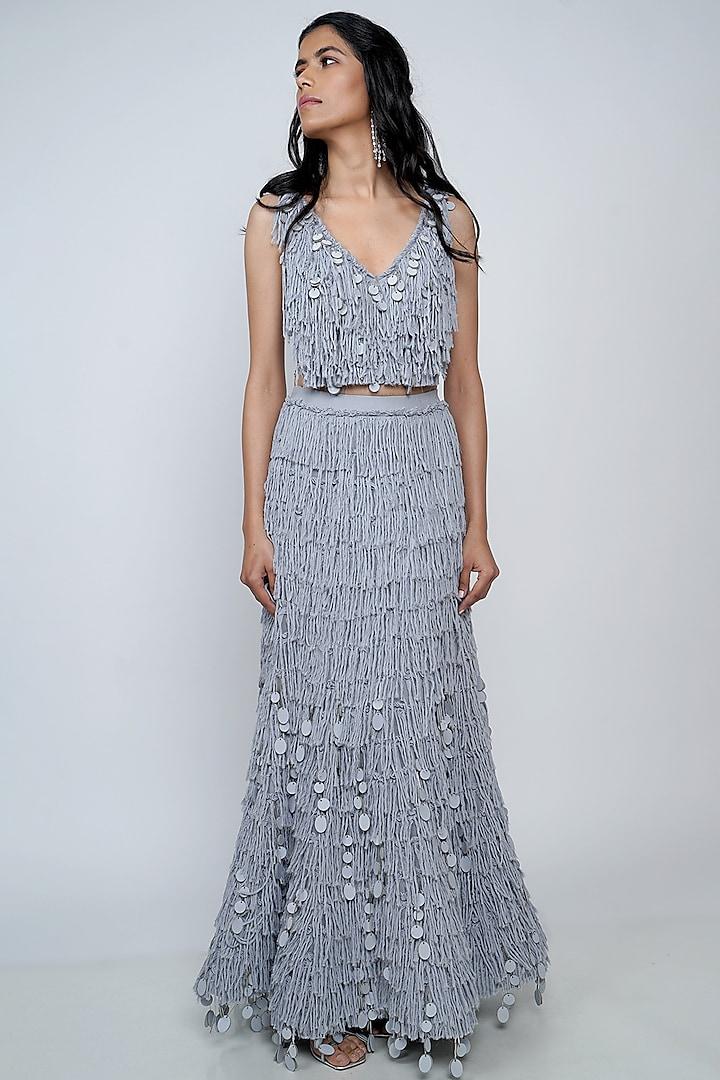 Grey Embroidered Skirt Set by Geisha Designs