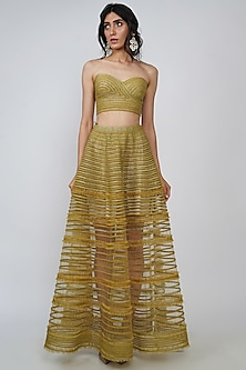 Olive Green Embroidered Skirt Set by Geisha Designs-GEISHA DESIGNS