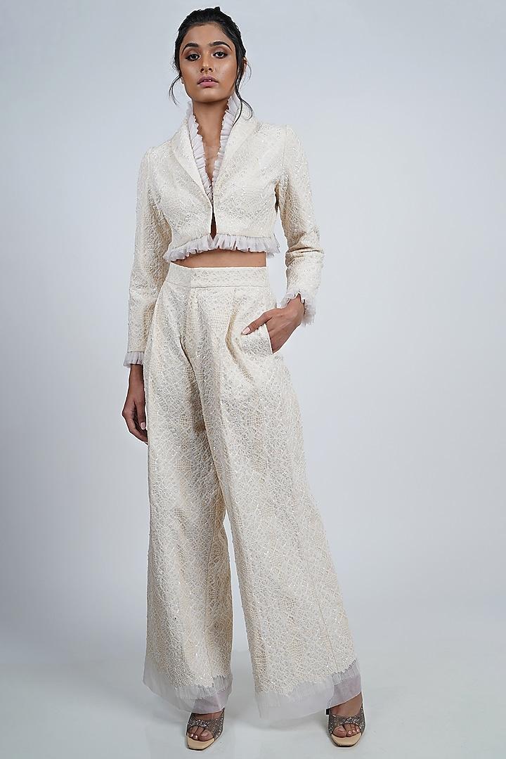 White Textured Pants Set by Geisha Designs