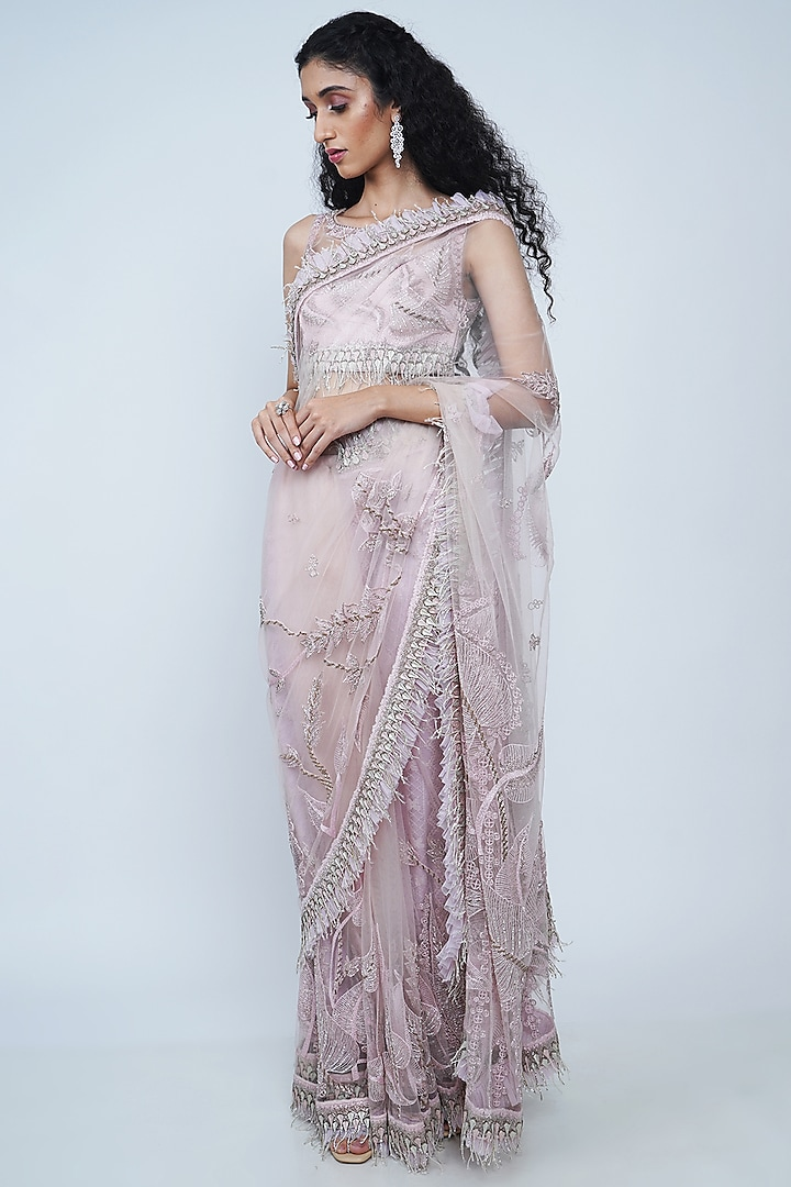 Blush Pink Embroidered Saree Set by Geisha Designs