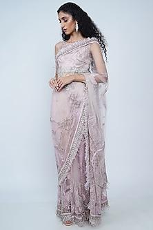Blush Pink Embroidered Saree Set by Geisha Designs-GEISHA DESIGNS