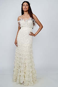 White Embroidered Gown With Belt by Geisha Designs