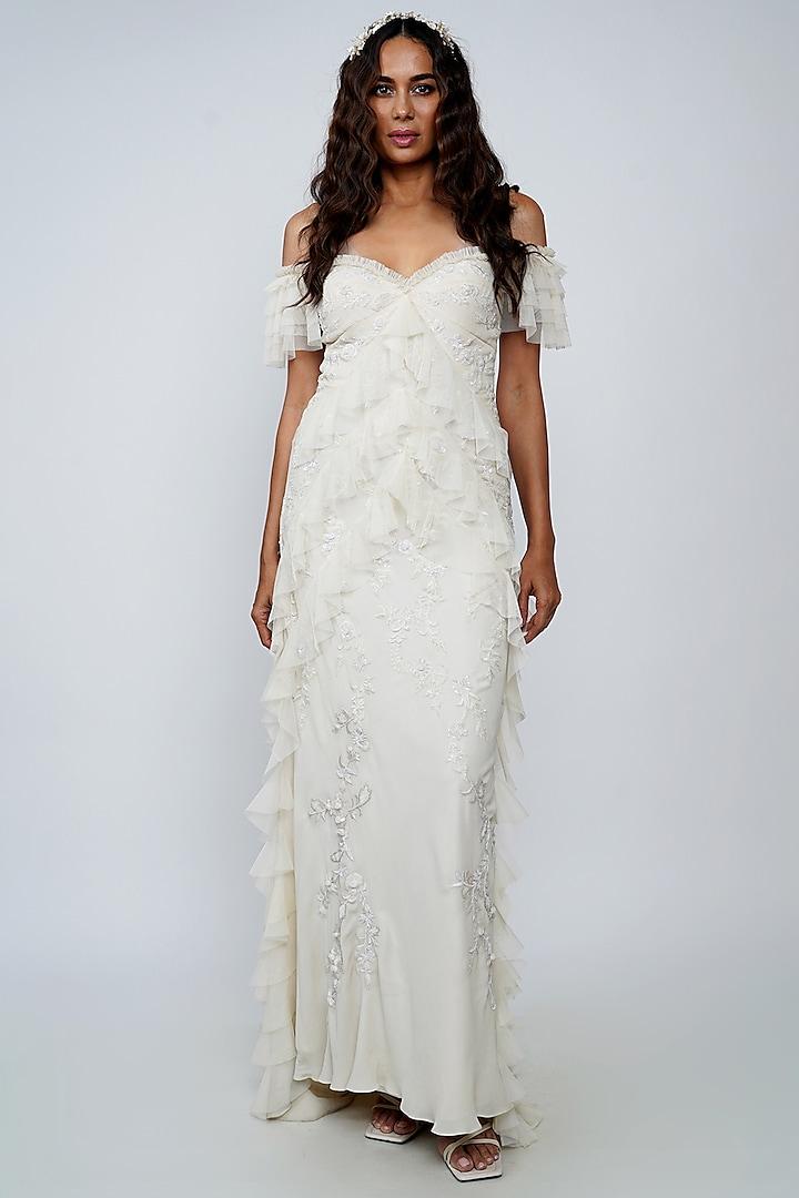White Ruffled Gown by Geisha Designs