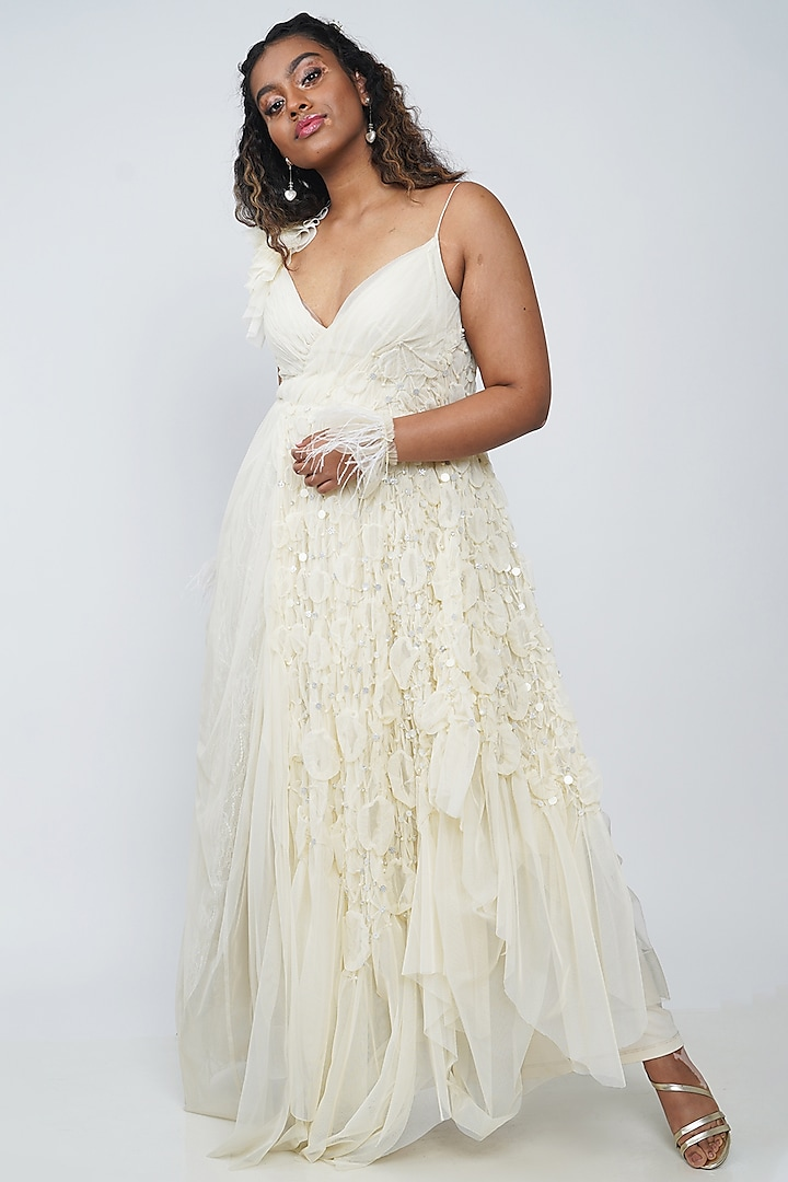 White Strappy Embroidered Gown by Geisha Designs