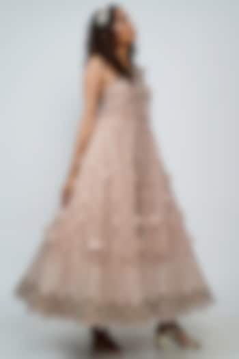 Blush Pink Embroidered Gown With Belt by Geisha Designs