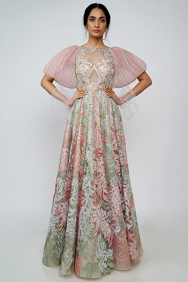 Blush Pink Embroidered Gown by Geisha Designs