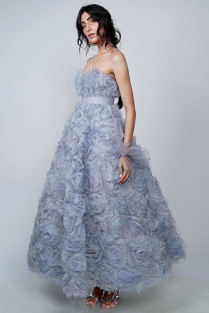 Sky Blue Embroidered Gown With Belt by Geisha Designs