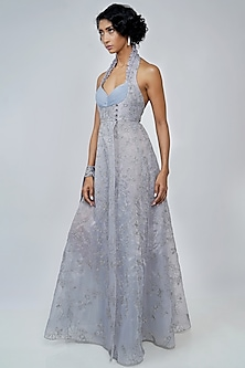 Sky Blue Embroidered Gown With Slit by Geisha Designs-GEISHA DESIGNS