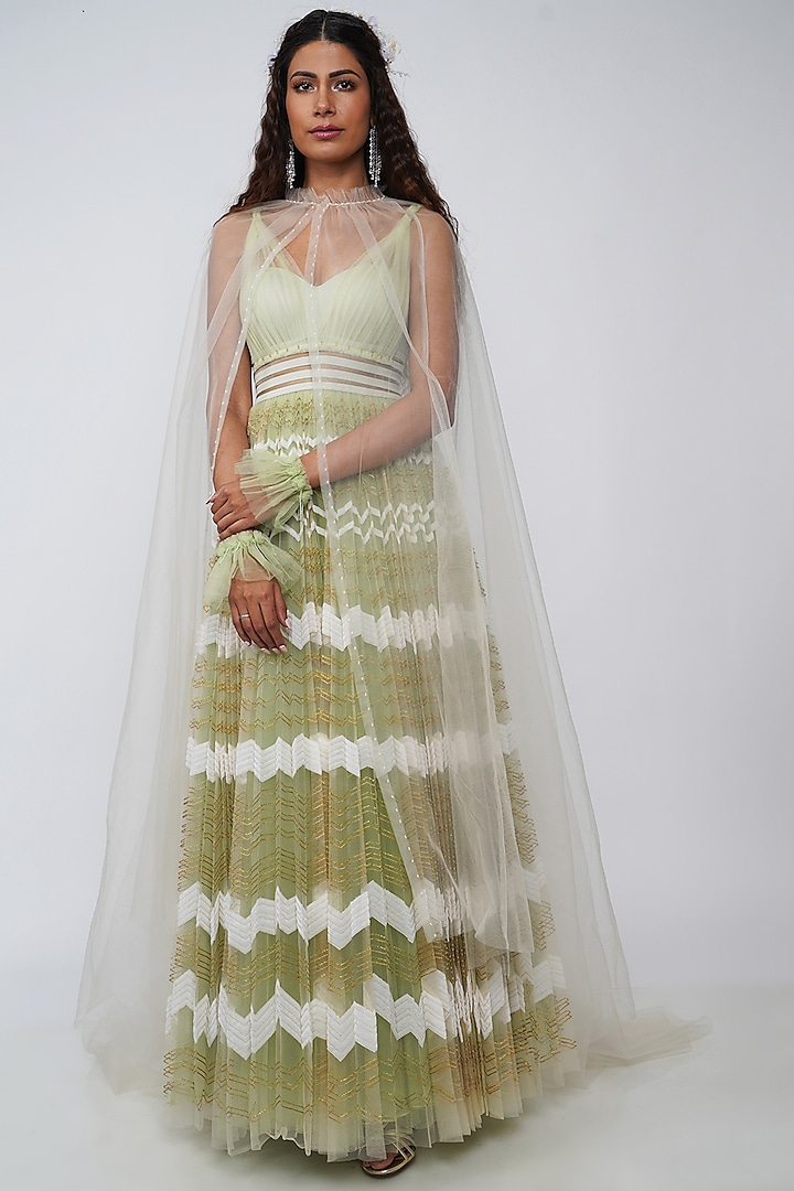 Mint Green Embroidered Gown With Cape by Geisha Designs