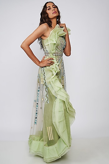 Mint Green Embroidered Gown With Belt by Geisha Designs